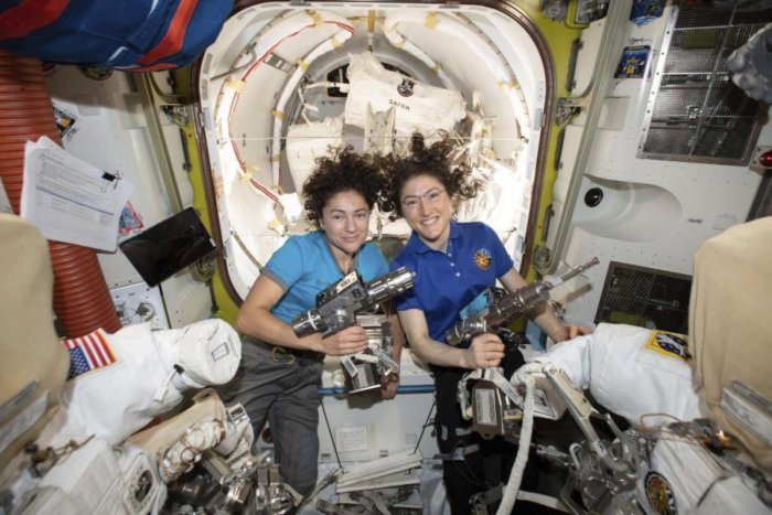 U.S. astronauts Jessica Meir, left, and Christina Koch pose for a photo in the International Space Station. On Friday, Oct. 18, 2019, the two are scheduled to perform a spacewalk to replace a broken battery charger. (AP/PTI Photo)