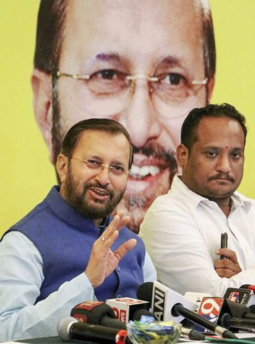 Union HRD Minister Prakash Javadekar interacts with media during a press conference in Nagpur. PTI