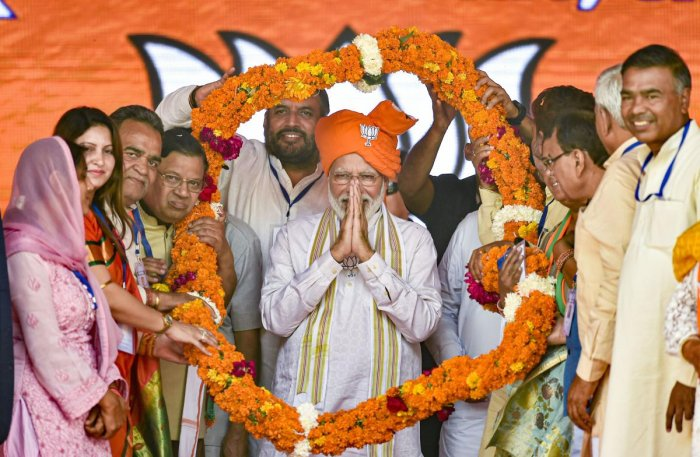 Addressing his second rally on Friday, Modi referred to a purported video in which three Congress leaders at the parliament complex were seen discussing prospects of the party in the polls. PTI