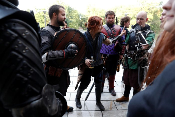 Fans of the 'Witcher' book and video game series attend a 'school' where they dress up in costumes and role play witchers fighting supernatural creatures. Picture taken October 10, 2019. Reuters