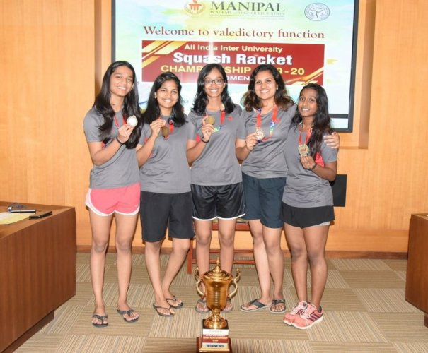 University of Madras team members who won All-India Inter-University Squash Championship for Women, at Manipal.