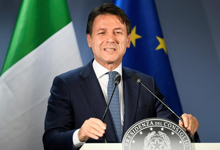 Italian Prime Minister Giuseppe Conte holds a news conference at the end of the European Union leaders summit dominated by Brexit in Brussels on Oct 18, 2019. (REUTERS)