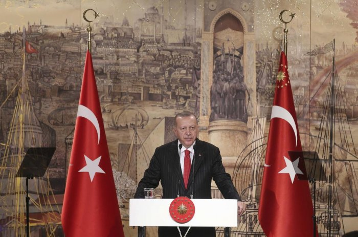Turkish President Recep Tayyip Erdogan speaks to the foreign media, in Istanbul, Friday, Oct. 18, 2019. (AP/PTI)