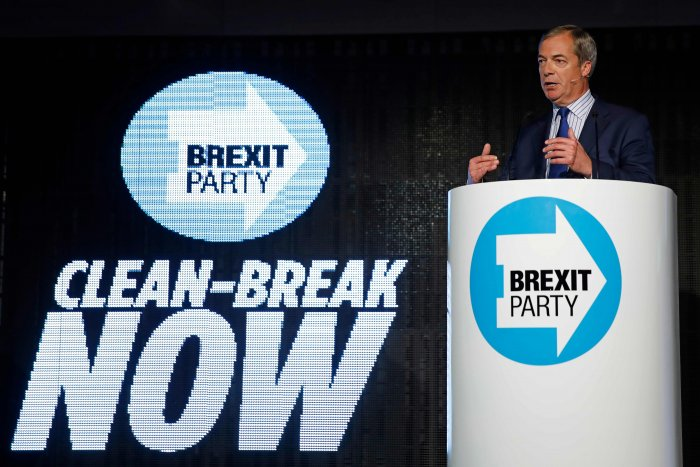 Brexit Party leader Nigel Farage delivers a speech to supporters in Westminster, central London. (AFP Photo)