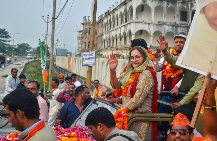 BJP leader Jaya Prada participates in a road show in support of party's Rampur by-poll candidate Bharat Bhushan, in Rampur, Saturday, Oct. 19, 2019. (PTI Photo)