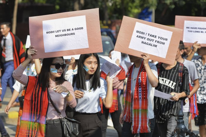 Delhi based students from Nagaland stage a protest march demanding solution to the issue of Naga peace talks, and a decision on the framework agreement, in New Delhi. (PTI Photo)