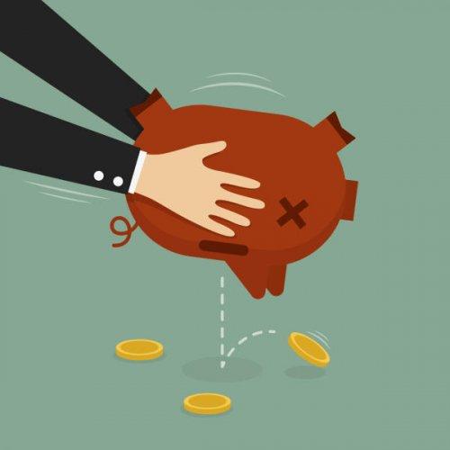Businessman Taking Money Out of Piggy Bank. (Business Concept Cartoon Illustration)