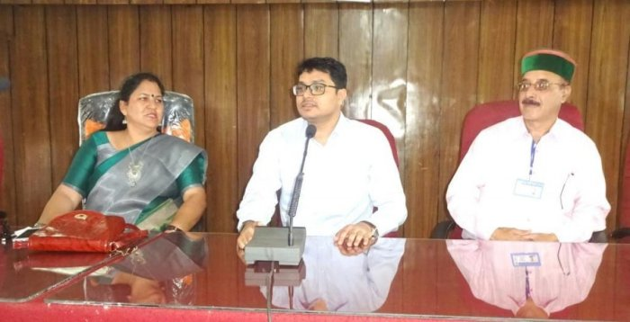 Tehri ZP President Sona Sajwan, Kodagu ZP CEO Prashanth Mishra and Tehri ZP Vice President Shyam Singh at a meeting.