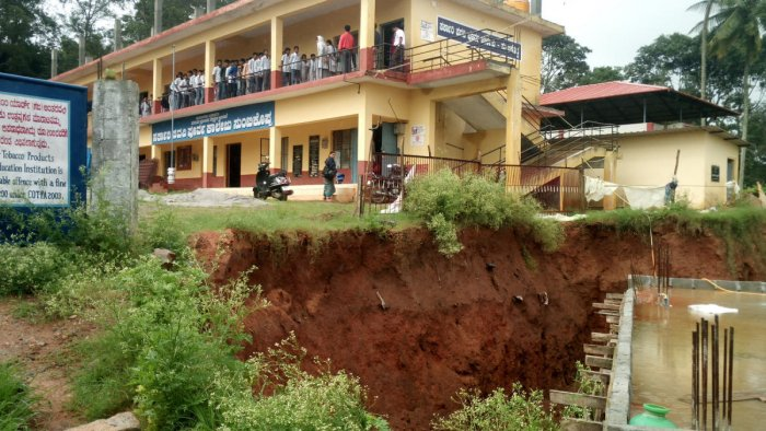 The retaining wall of the Government PU College collapsed at Suntikoppa.