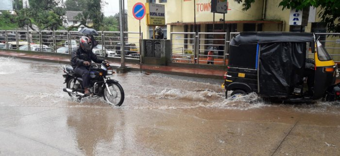 A water-logged road in Madikeri.