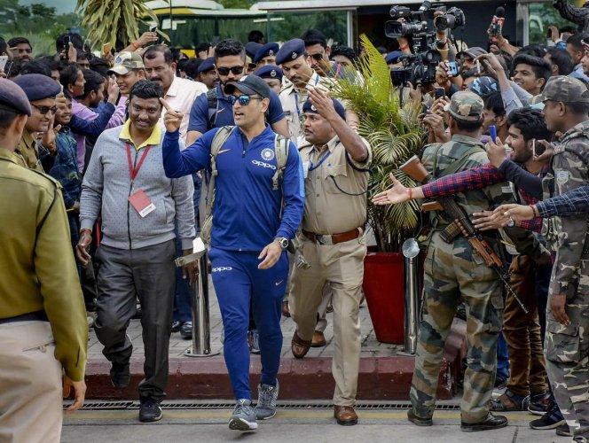 Mahendra Singh Dhoni at the JSCA Stadium in Ranchi. PTI