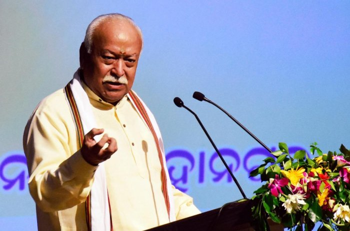 RSS chief Mohan Bhagwat addresses an intellectual meet in Bhubaneswar on Saturday. (PTI Photo)