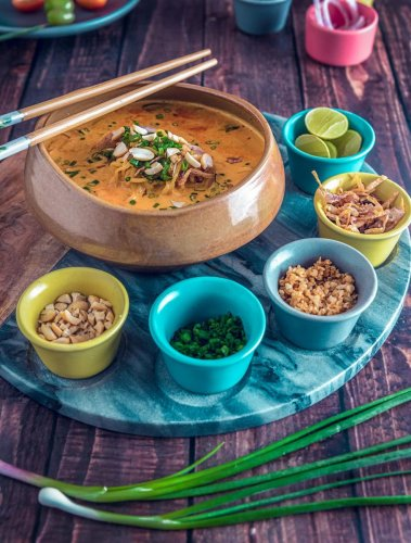 Burmese Khao Suey with Rice Noodles