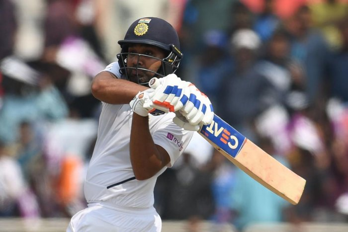 India's Rohit Sharma pulls one to the boundary during his unbeaten century against South Africa on Saturday. AFP