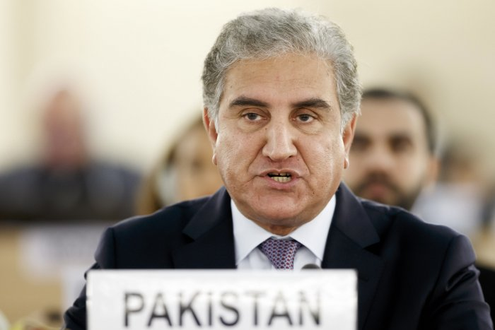 Pakistan's Foreign Minister Shah Mehmood Qureshi makes a statement during the 42nd session of the Human Rights Council at the European headquarters of the United Nations in Geneva. (PTI Photo)