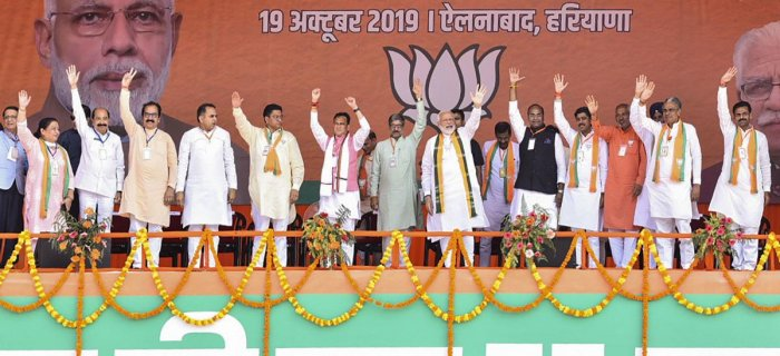 The BJP's narrative, largely surrounding national security, nationalism, abrogation of article 370, the Rafael jet advantage and Balakot surgical strikes, was juxtaposed with the achievements of Chief Minister Manohar Lal Khattar's five years of rule. (PTI File Photo)