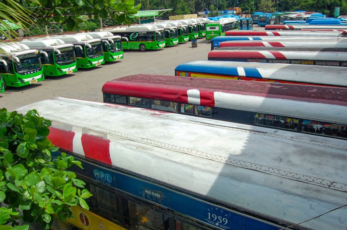 Buses parked at a depot during TSRTC employees' strike over completion of their various demands, at Secundrabad in Hyderabad. (PTI Photo)