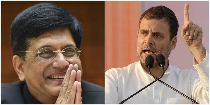 BJP leader Piyush Goyal (L) and Congress leader Rahul Gandhi (R) (PTI Photos)