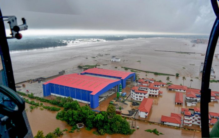 An aerial view of flooded areas of Kerala, on Monday, Aug. 20, 2018. (Coast Guard Handout Photo via PTI)