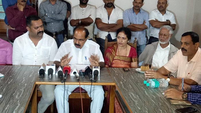 MP and former Union minister Veerappa Moily speaks to reporters in Madikeri.