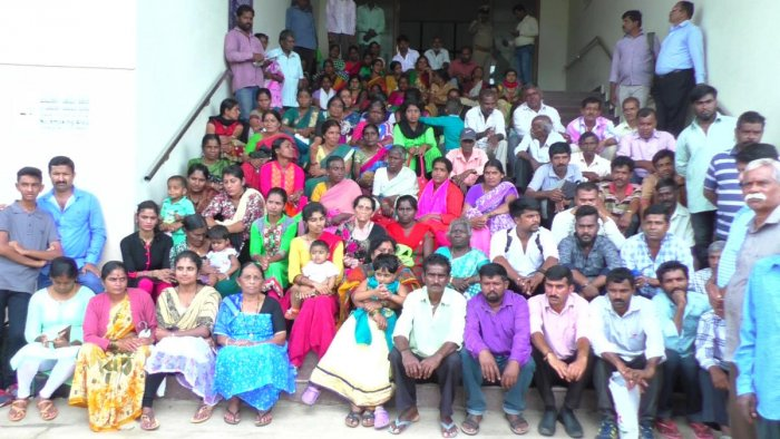 Haleri residents stage a protest in front of the DC's office in Madikeri on Monday.
