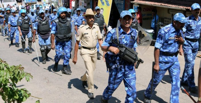 RAF personnel take out a route march ahead of Tipu Jayanti in Somwarpet in Kodagu on Friday.