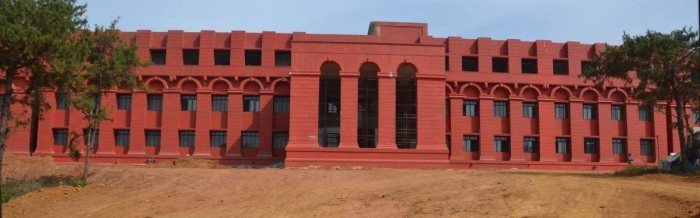 A view of the new District Court Complex on the outskirts of Madikeri.