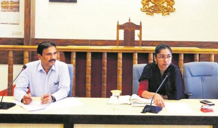 Zilla Panchayat Chief Executive Officer K Lakshmipriya speaks at a preparatory meeting in Madikeri on Wednesday.
