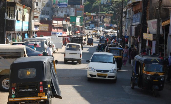 Vehicles ply about in Kodagu on the day of the nationwide bandh observed by labour unions on Tuesday.
