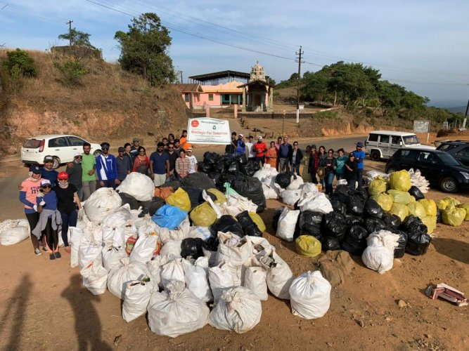 Trash collected during the 'Recycle Kodagu Drive' at Talacauvery.