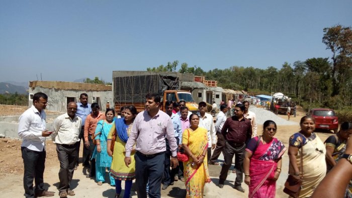 A team of officials from the State Institute For Urban Development (SIUD), Mysuru, visited Karnangeri village in Madikeri, to study the rehabilitation and related works.
