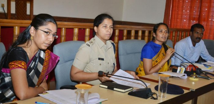 Deputy Commissioner Annies Kanmani Joy speaks during a press conference in Madikeri on Wednesday. Zilla Panchayat CEO K Lakshmi Priya, Superintendent of Police Dr Suman D Pennekar and Additional Deputy Commissioner T Yogesh look on.