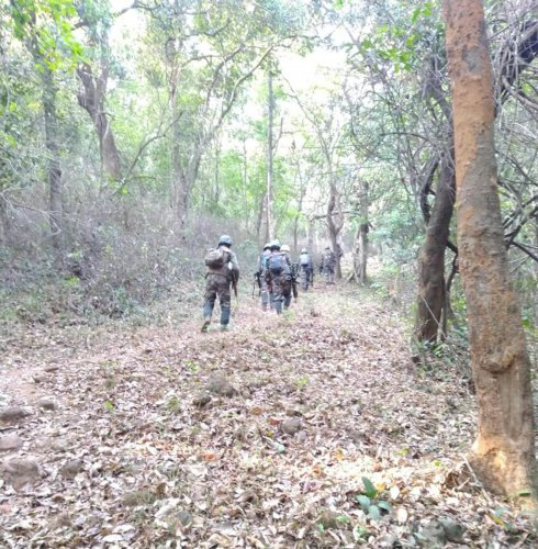 Anti-Naxal Force personnel carry out combing operations at Irpu on the foothills of Brahmagiri in Kodagu district.