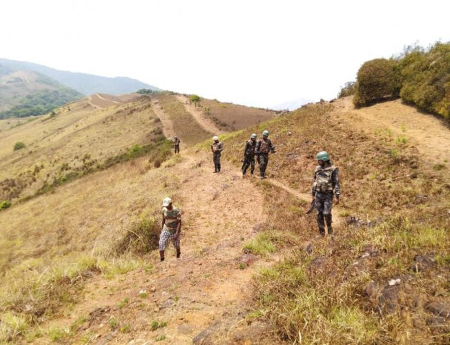 The Anti Naxal Force conducts a combing operation in a hilly region of Kodagu – Kerala border.