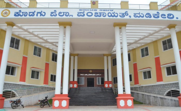 The new building of Kodagu Zilla Panchayat, at Vidyanagara, on the outskirts of Madikeri.