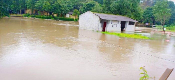The water level in Triveni Sangama at Bhagamandala, Kodagu district, has increased following incessant rain in the region.