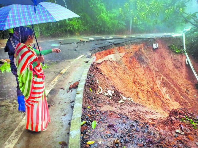 A landslide in Kodagu during monsoon
