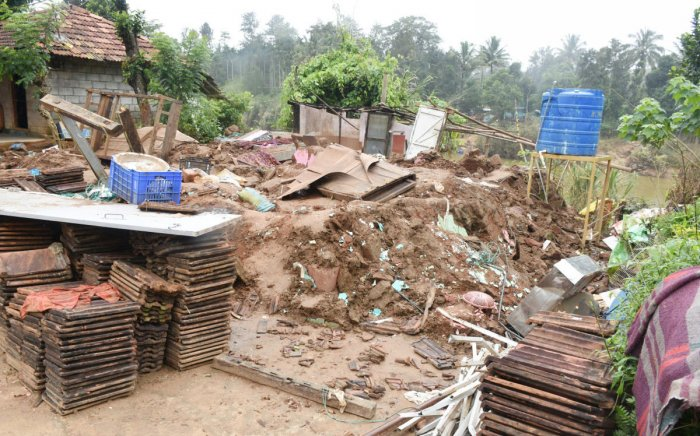 A house destroyed by the floods in Kodagu district.