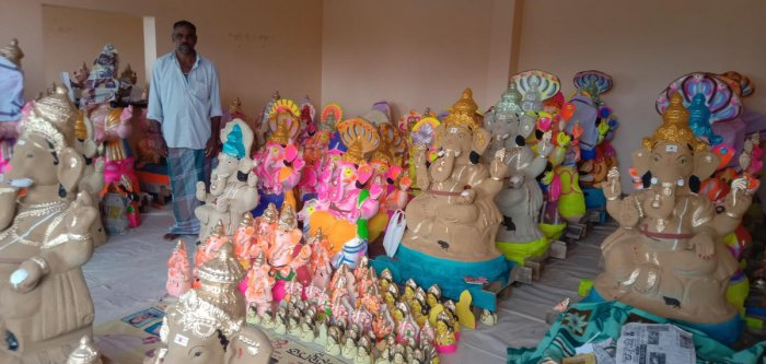 Ganesha idols in a variety of shapes and sizes have been kept for sale in a stall in bypass road of Kushalnagar town in Kodagu district.