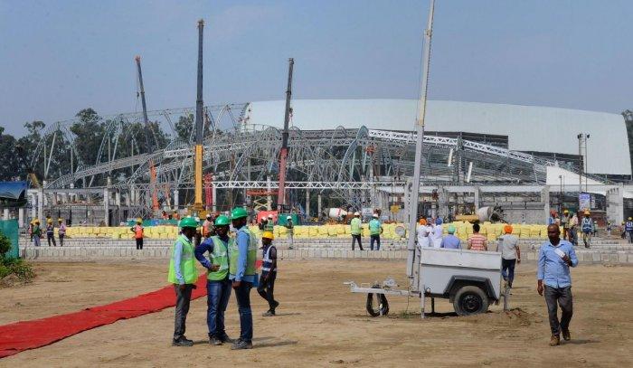 Construction works underway for the Kartarpur Corridor, at Dera Baba Nanak in Gurdaspur on Saturday. (PTI Photo)