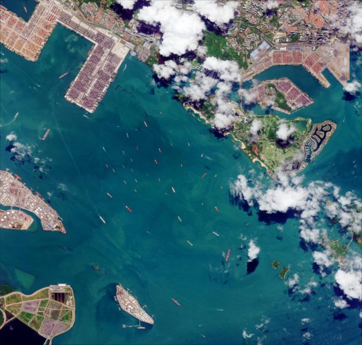 Clippings from 'Earth From Space'. The picture shows Singapore Harbour as seen from space.