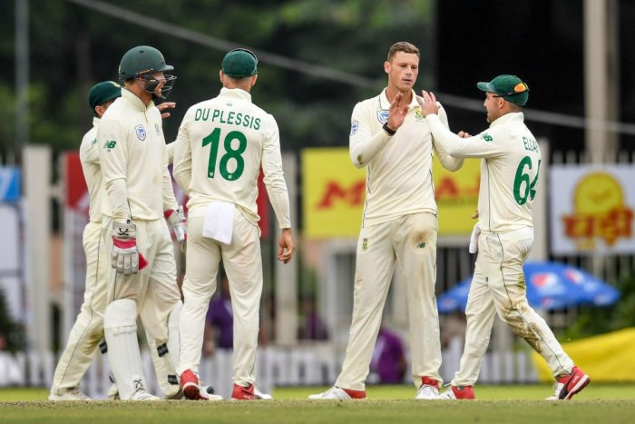 South Africa's George Linde (second from right) celebrates with team-mates after dismissing India's Ravindra Jadeja on the second day of the third Test in Ranchi on Sunday. AFP