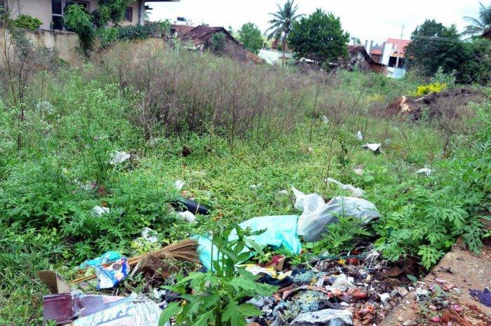 Garbage dumped on a vacant plot at Jayanagara in Chikkamagaluru.