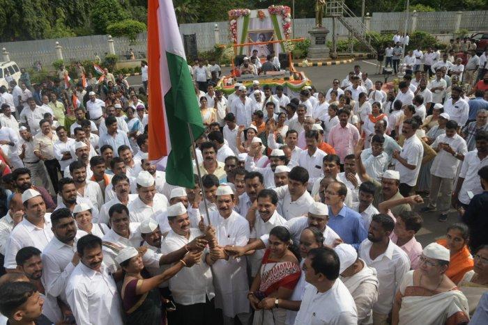 MP and BJP State President Nalin Kumar Kateel flags off the 'Gandhi – 150' padayatra in Mangaluru on Sunday.