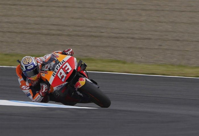 Motegi: Spain's MotoGP rider Marc Marquez in action during the final round of the MotoGP Japanese Motorcycle Grand Prix at the Twin Ring Motegi circuit in Motegi, north of Tokyo, Sunday, Oct. 20, 2019. AP/PTI