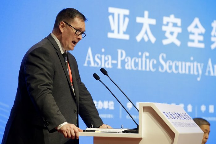 US Deputy Assistant Defense Secretary for China Chad Sbragia speaks during a meeting on Asia-Pacific Security Architecture at the Xiangshan Forum in Beijing, China. (Reuters Photo)