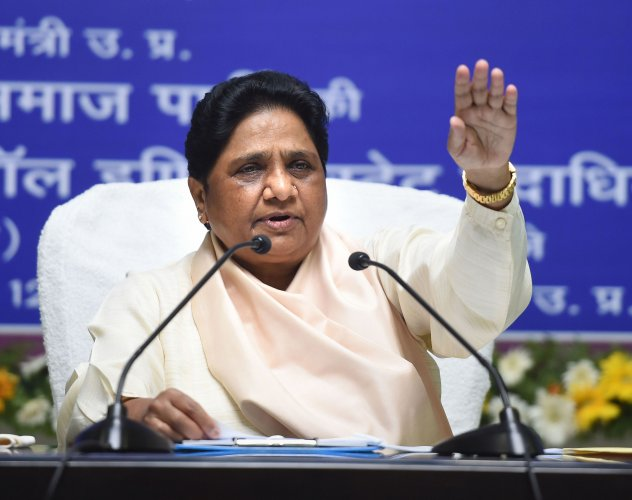 Bahujan Samaj Party (BSP) supremo Mayawati addresses the party workers during a meeting, at BSP headquarters in Lucknow. (PTI Photo)