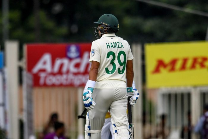South Africa's Zubayr Hamza walks back to the pavilion after being dimissed during the third day of the third and final test match between India and South Africa at Jharkhand State Cricket Association (JSCA) in Ranchi on October 21, 2019. (AFP)