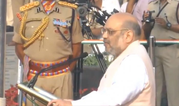 Home Minister Amit Shah speaks at the Police Commemoration Day Parade at National Police Memorial, New Delhi. Twitter