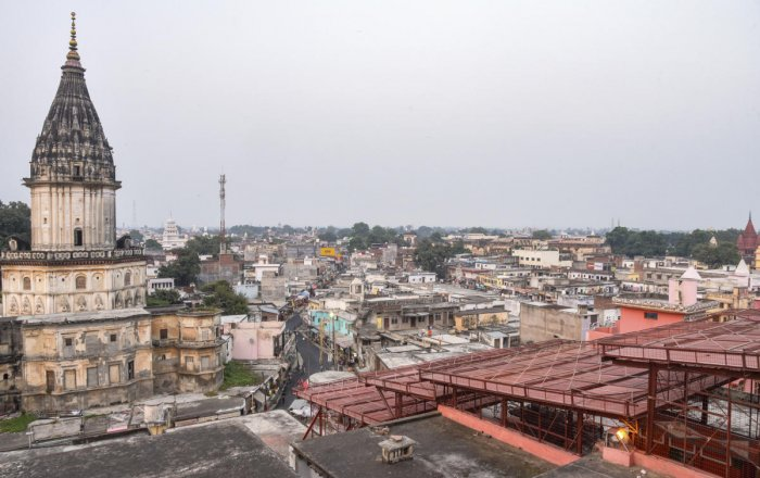 A view of the temple city of Ayodhya as seen from the roof of the famous Hanumangarhi, Thursday evening, Oct. 17, 2019. Photo/PTI